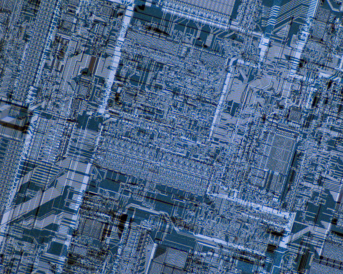 Close-up of a microprocessor silicon die